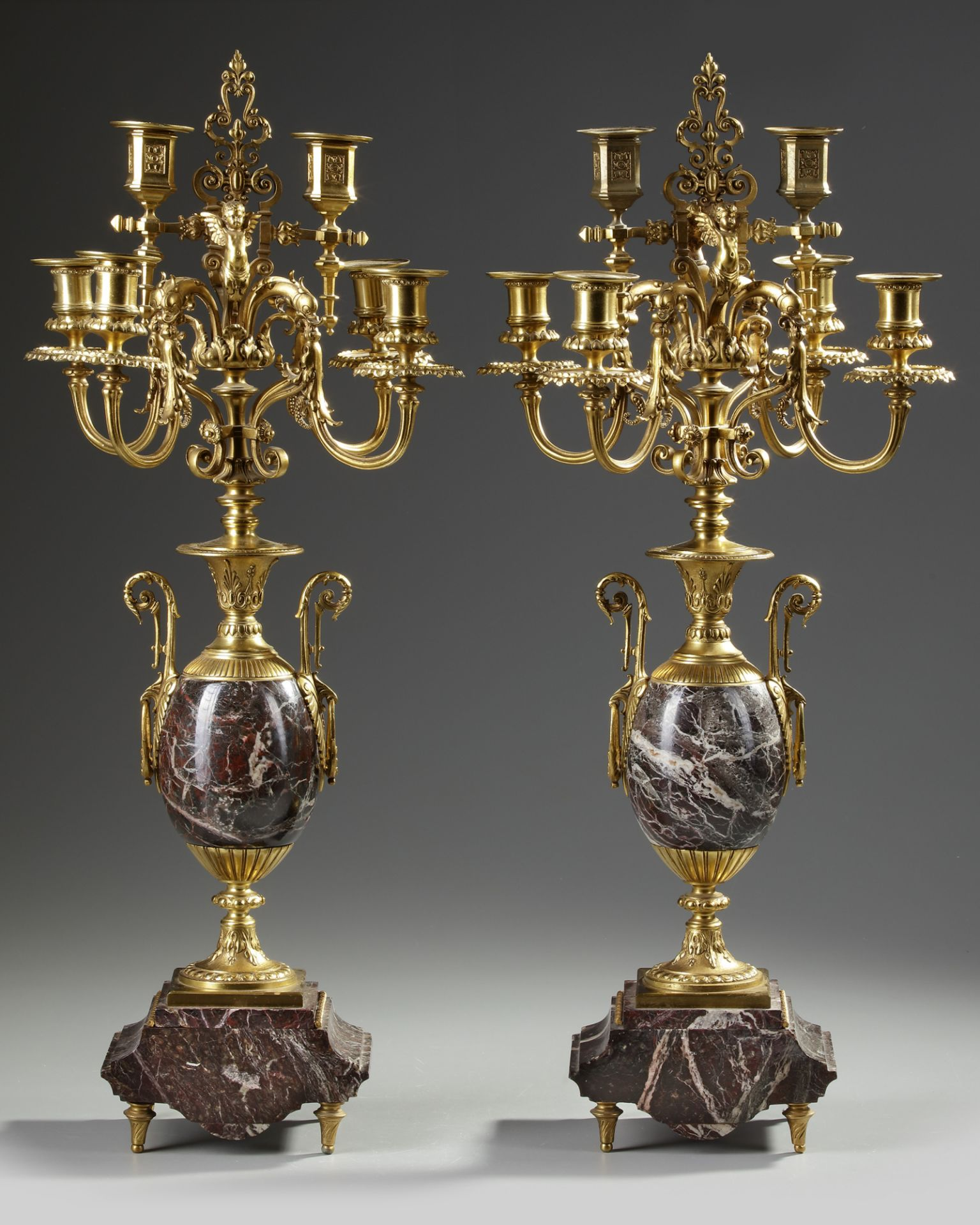 A PAIR OF FRENCH GILT CANDELABRAS.LATE 19TH CENTURY - Image 2 of 3