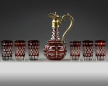 A BOHEMIAN CRYSTAL SET OF AN EWER AND 6 CUPS, LATE 19TH CENTURY
