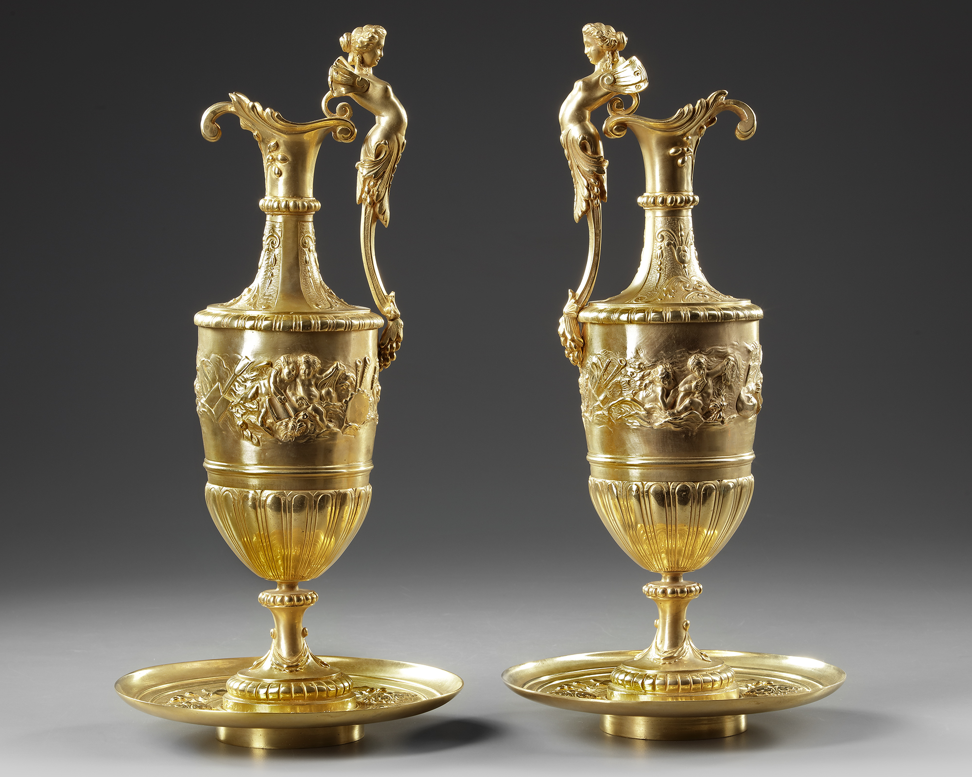 A PAIR OF FRENCH GILT BRONZE EWERS, 19TH CENTURY - Image 2 of 3