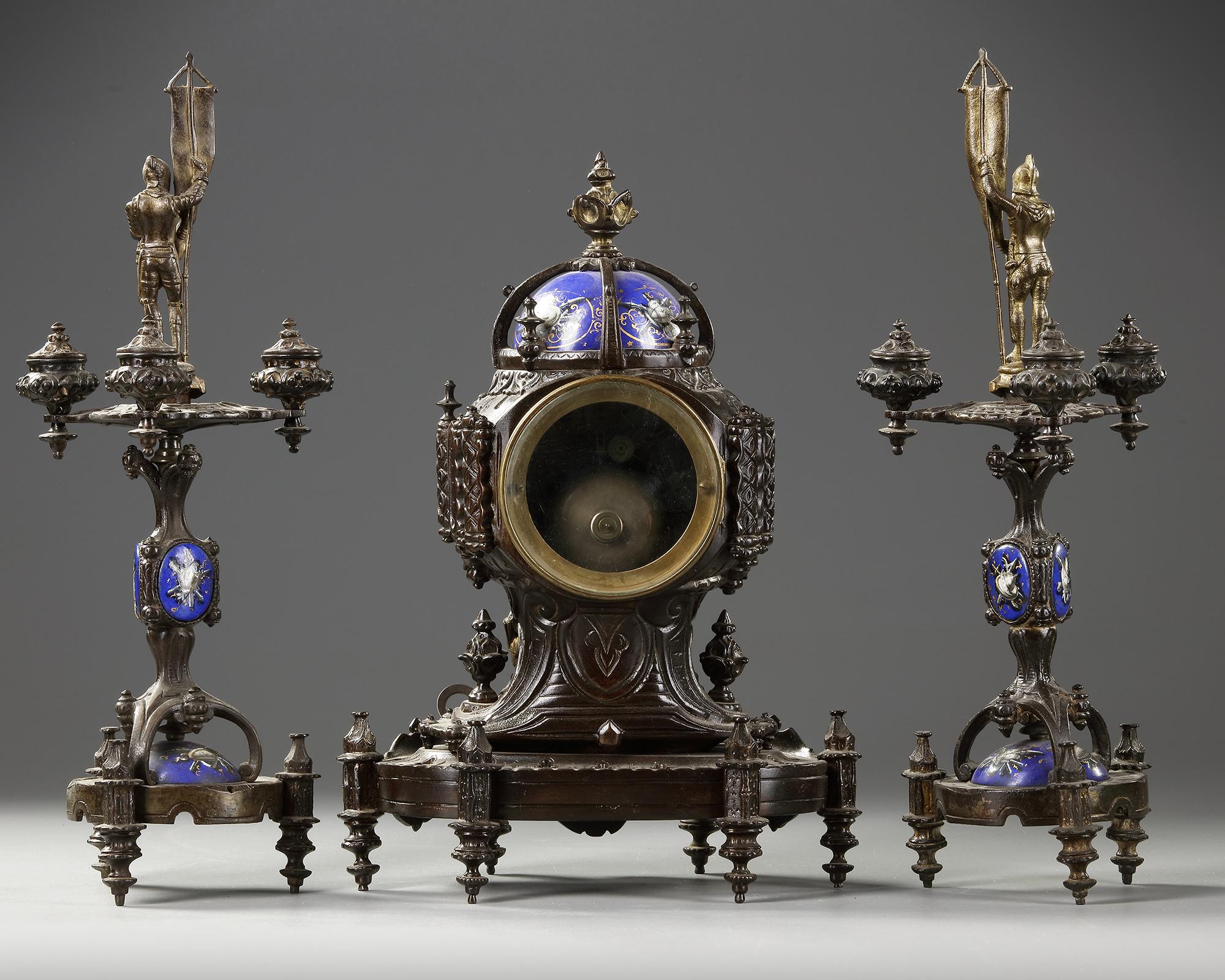 A CLOCK SET, 'VIOLET LE DUC' STYLE .CA 1870 - Image 3 of 4