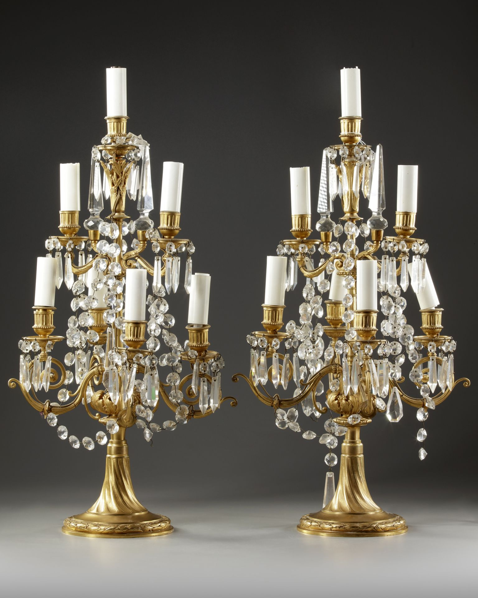 A PAIR OF FRENCH GIRANDOLES, LATE 19TH CENTURY