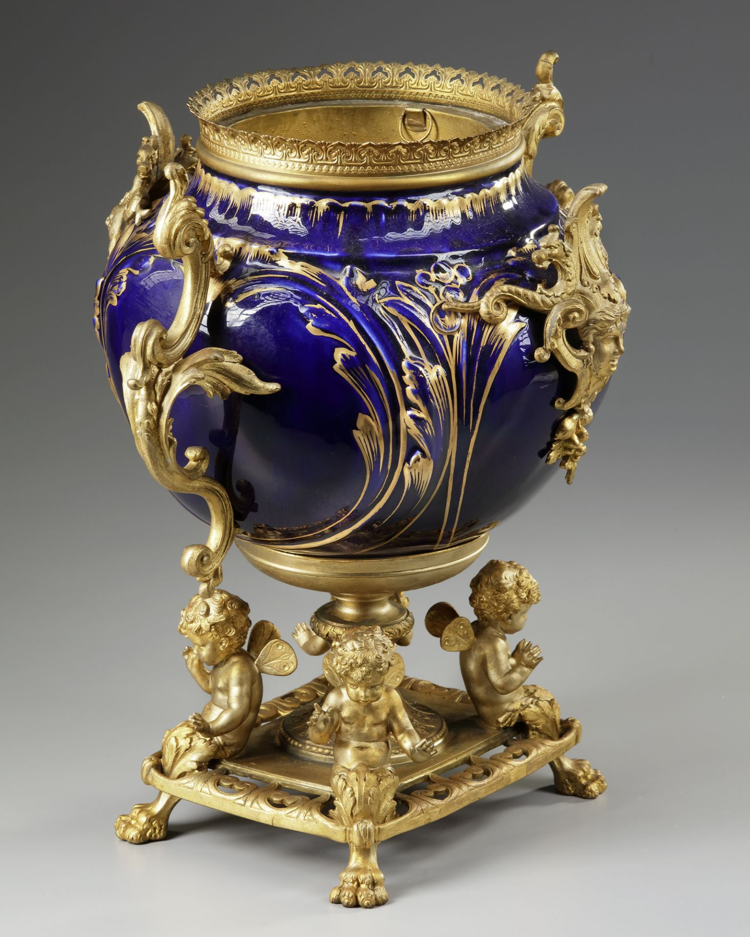 A FRENCH GILT SPELTER AND BLUE PORCELAIN FLOWER POT, LATE 19TH CENTURY - Image 3 of 3