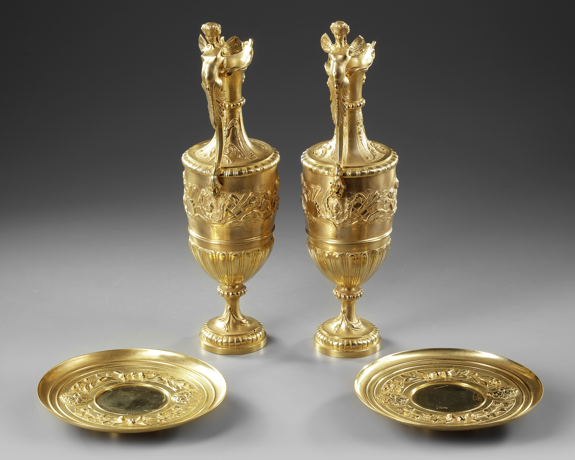 A PAIR OF FRENCH GILT BRONZE EWERS, 19TH CENTURY - Image 3 of 3