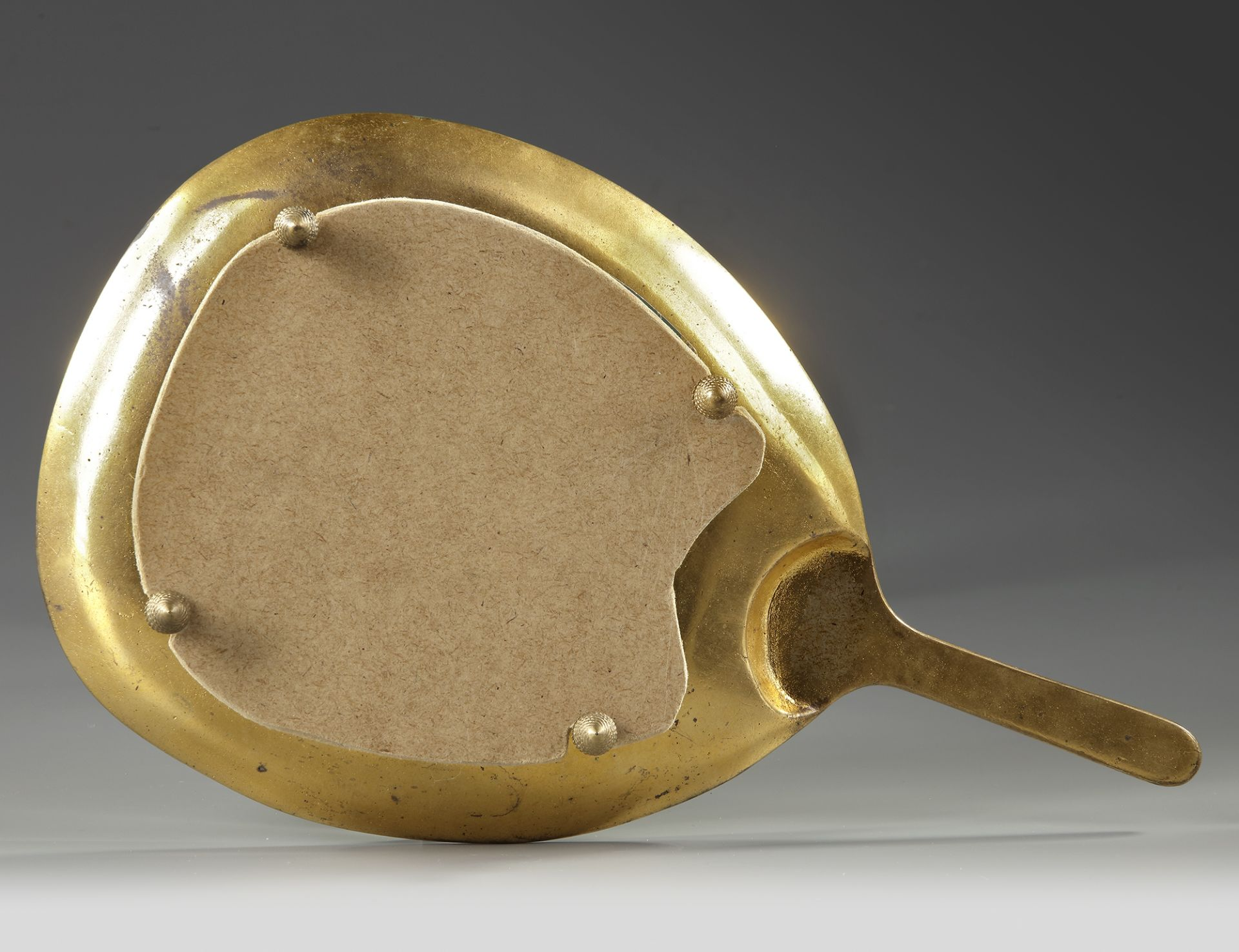 A FRENCH GILT BRONZE AND ENAMELED HAND MIRROR, 19TH CENTURY - Image 3 of 3