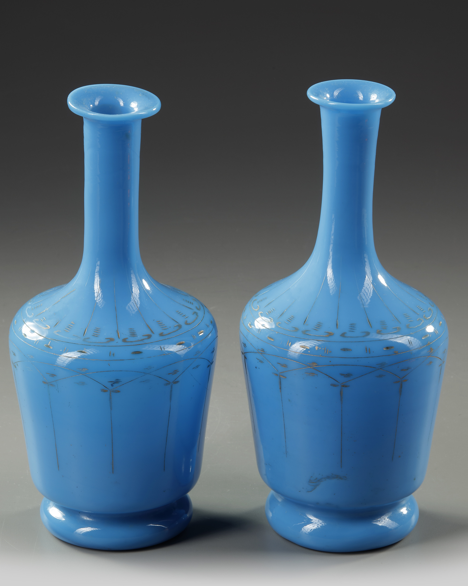 A PAIR OF OPALINE CARAFES, LATE 19TH CENTURY - Image 3 of 4