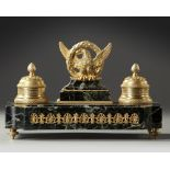 A FRENCH 'EMPIRE STYLE' INKWELL SET, LATE 19TH CENTURY