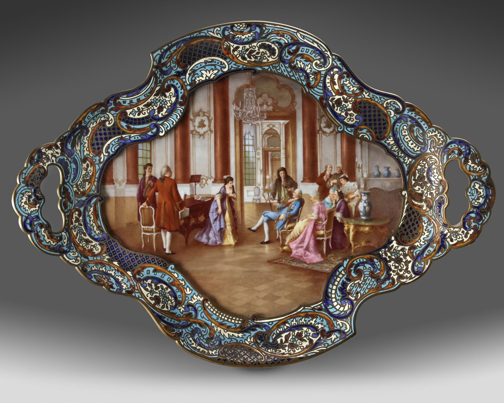 A FRENCH GILT ENAMEL CHAMPLEVÉ DRESSER STAND, 19TH CENTURY