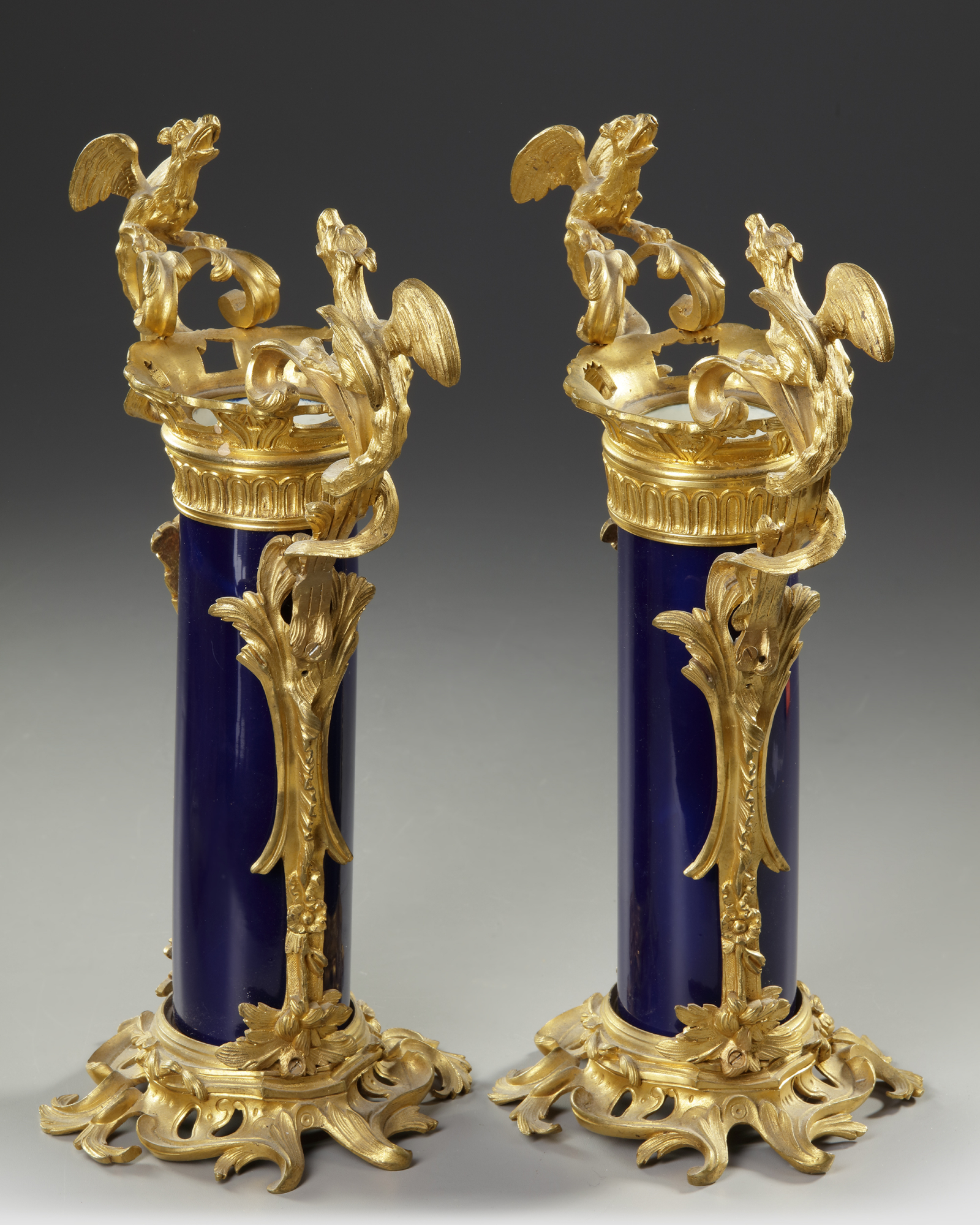 A PAIR OF FRENCH BLUE PORCELAIN VASES, 19TH CENTURY - Image 3 of 3