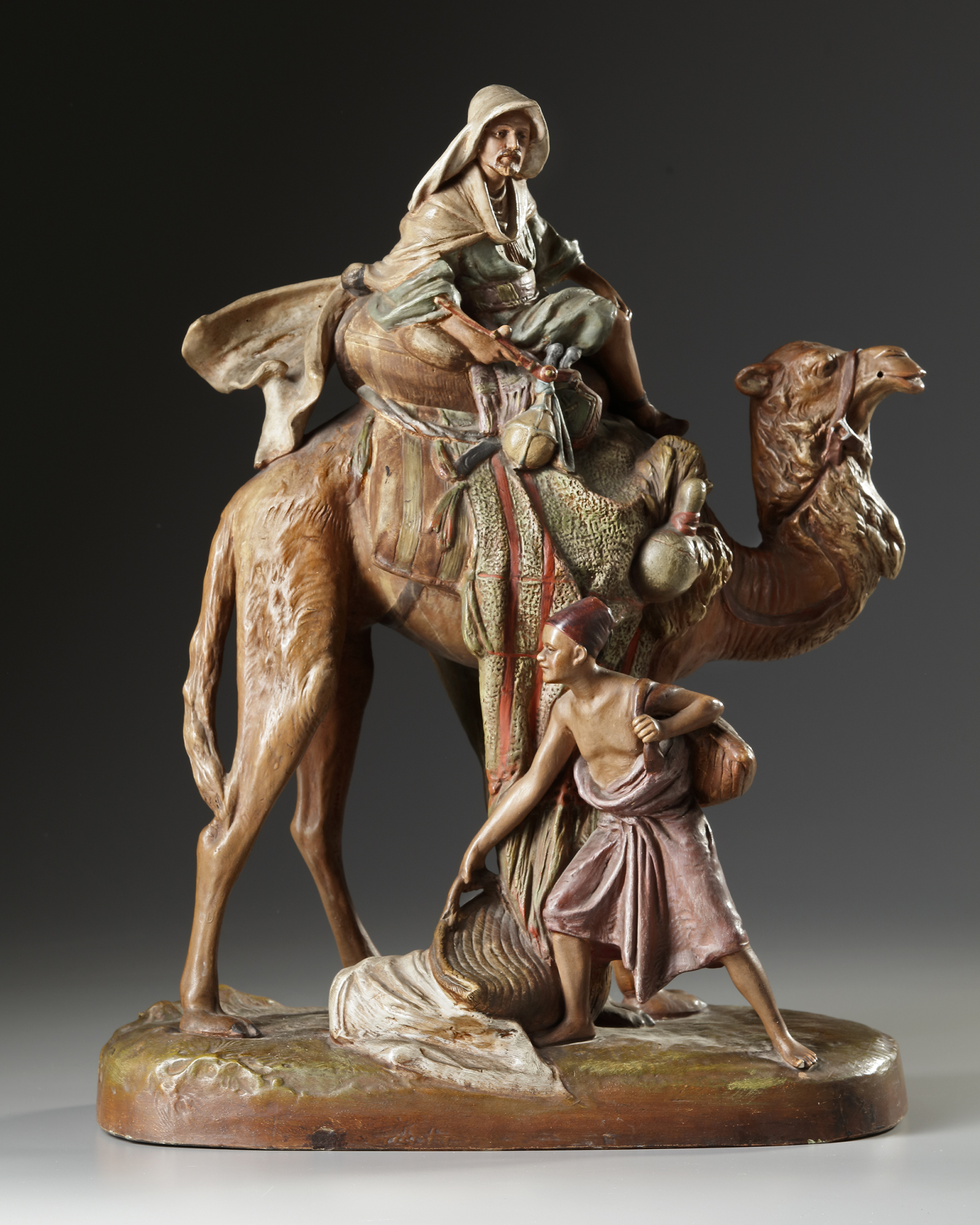 AN ORIENTALIST TERRACOTTA GROUP, LATE 19TH CENTURY