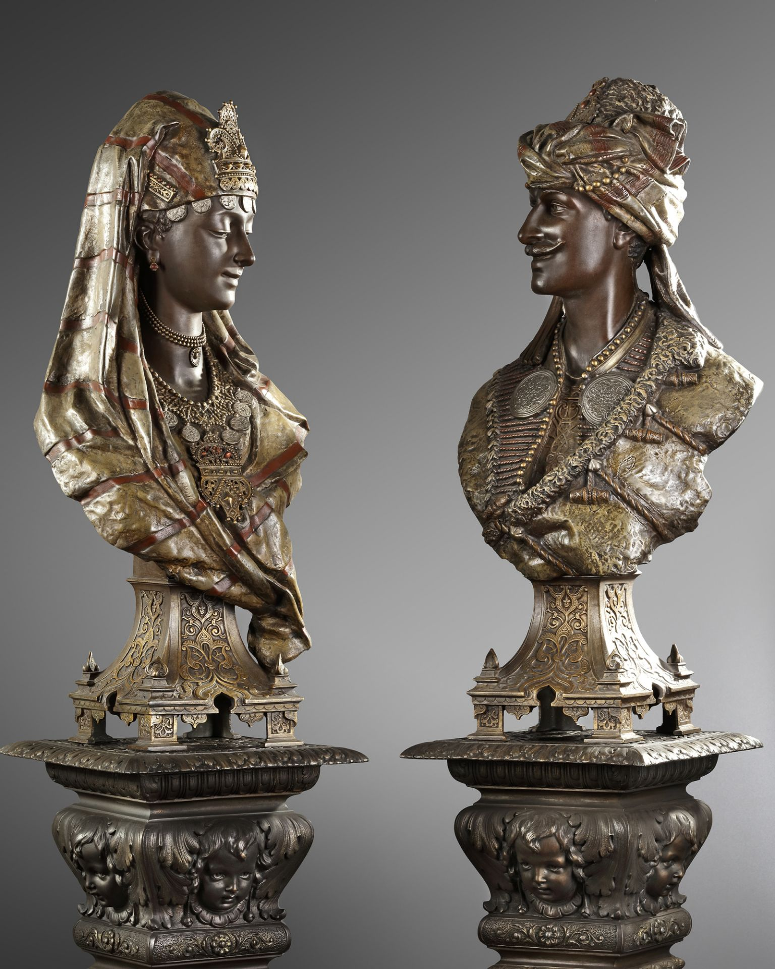 A PAIR OF BUSTS AFTER L. HOTTOT, LATE 19TH CENTURY - Image 5 of 5