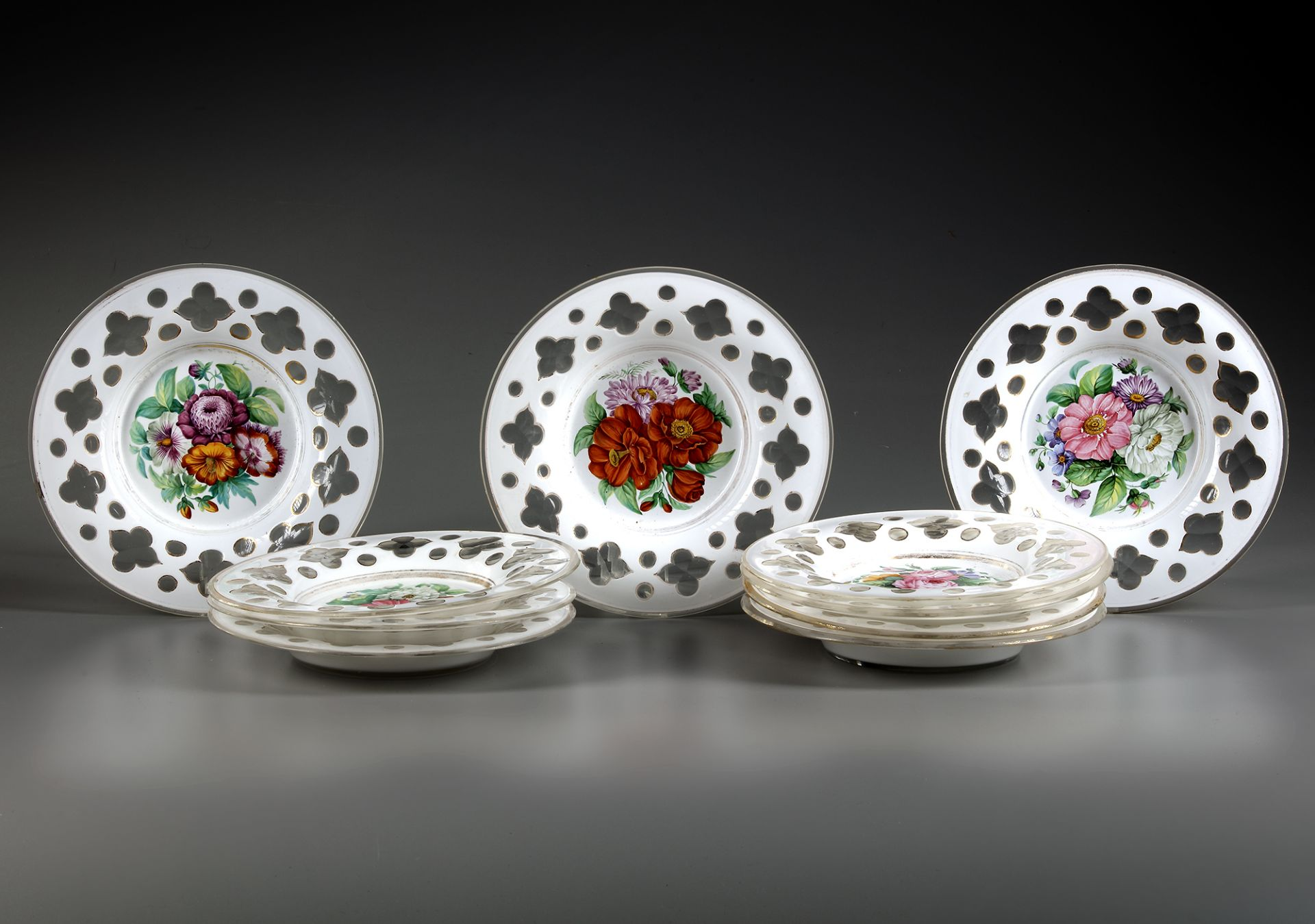 A FRENCH SET OF OPALINE PLATES, 19TH CENTURY - Image 2 of 2