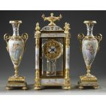 A FRENCH ORMOLU AND PORCELAIN CLOCK GARNITURE, 19TH CENTURY