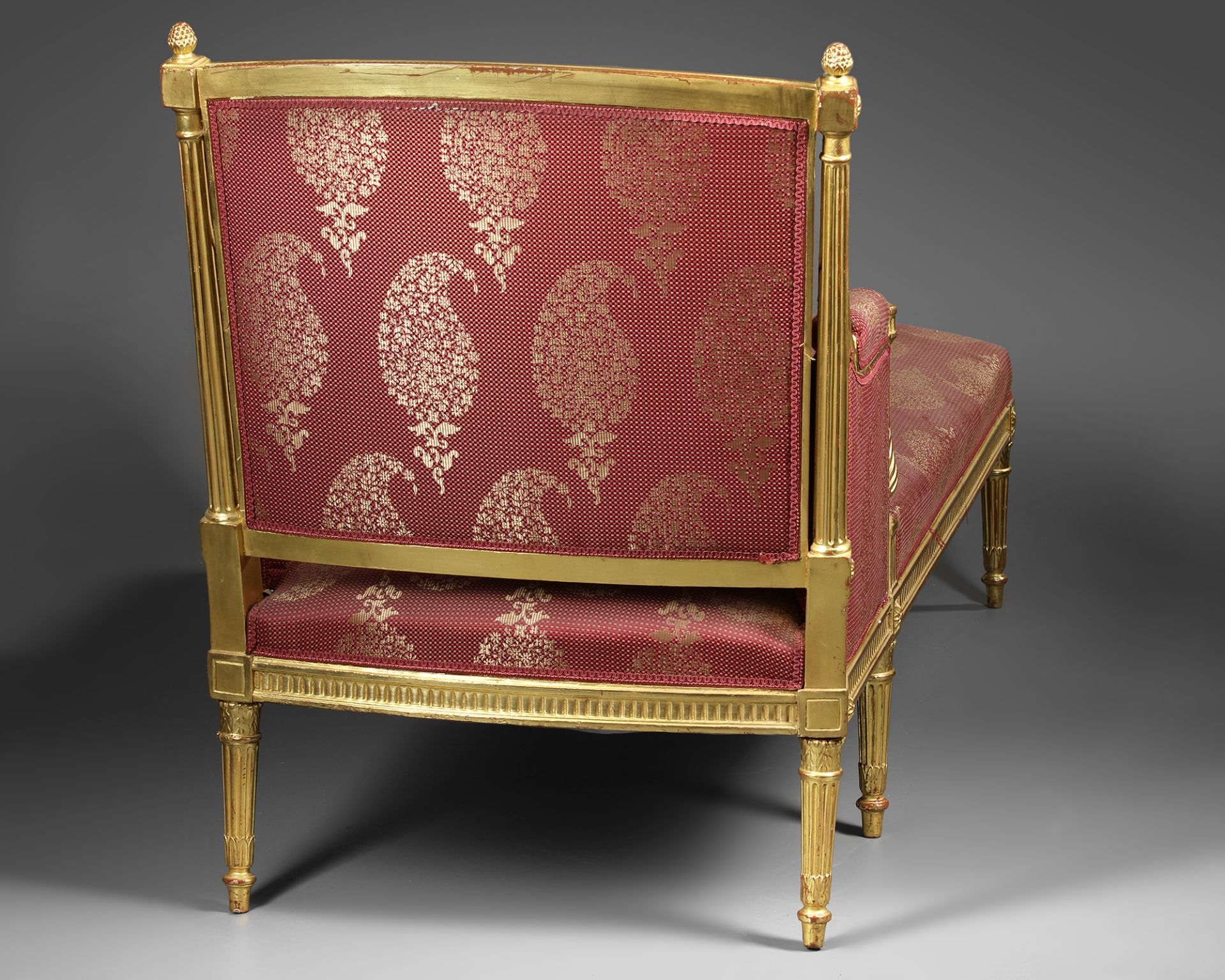 A FRENCH LOUNGE CHAIR, LOUIS XVI STYLE, LATE 19TH CENTURY - Image 3 of 4