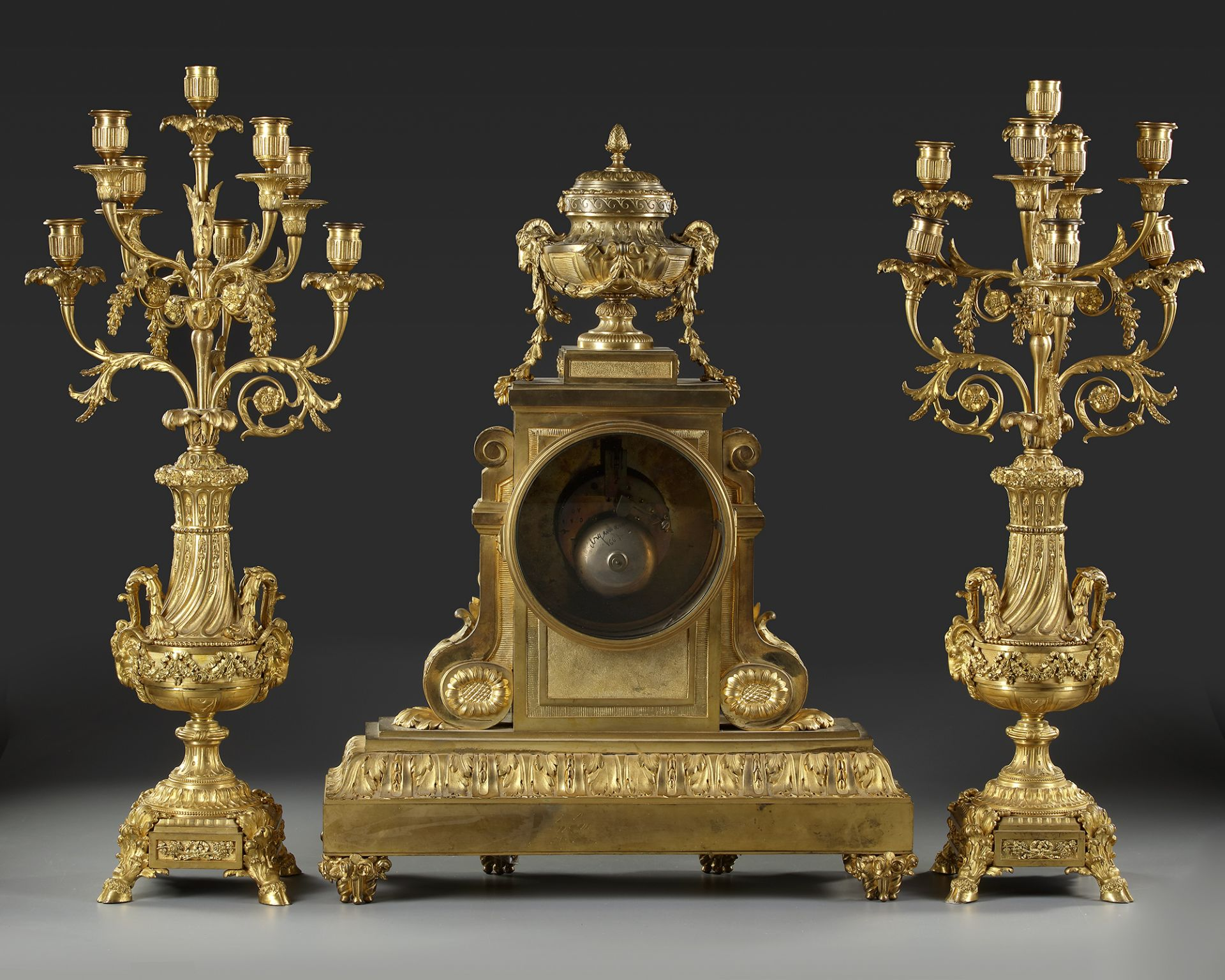 A FRENCH ORMOLU CLOCK SET, LATE 19TH CENTURY - Image 3 of 3
