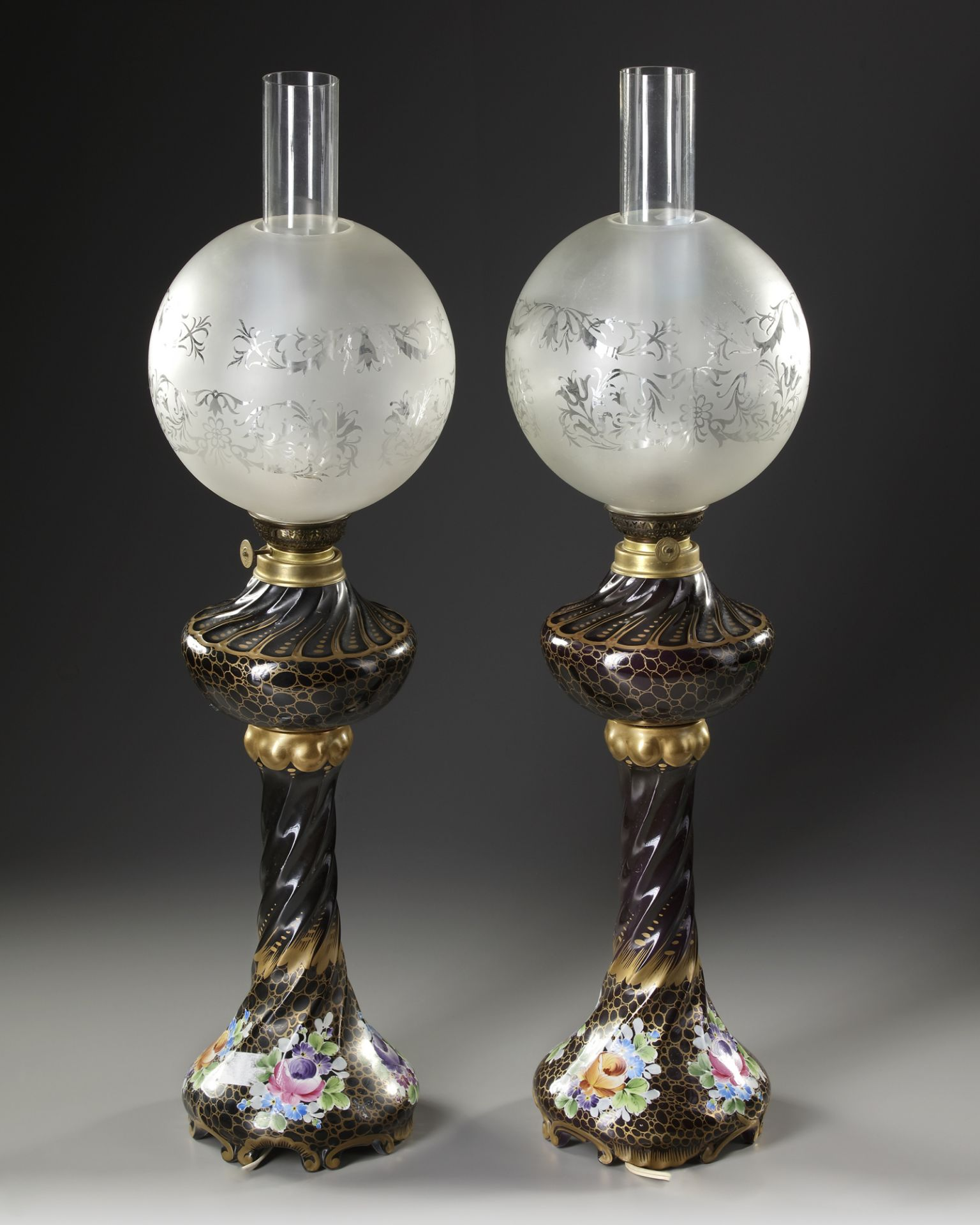 A PAIR OF FRENCH BLACK PORCELAIN LAMPS, LATE 19TH CENTURY - Image 2 of 2