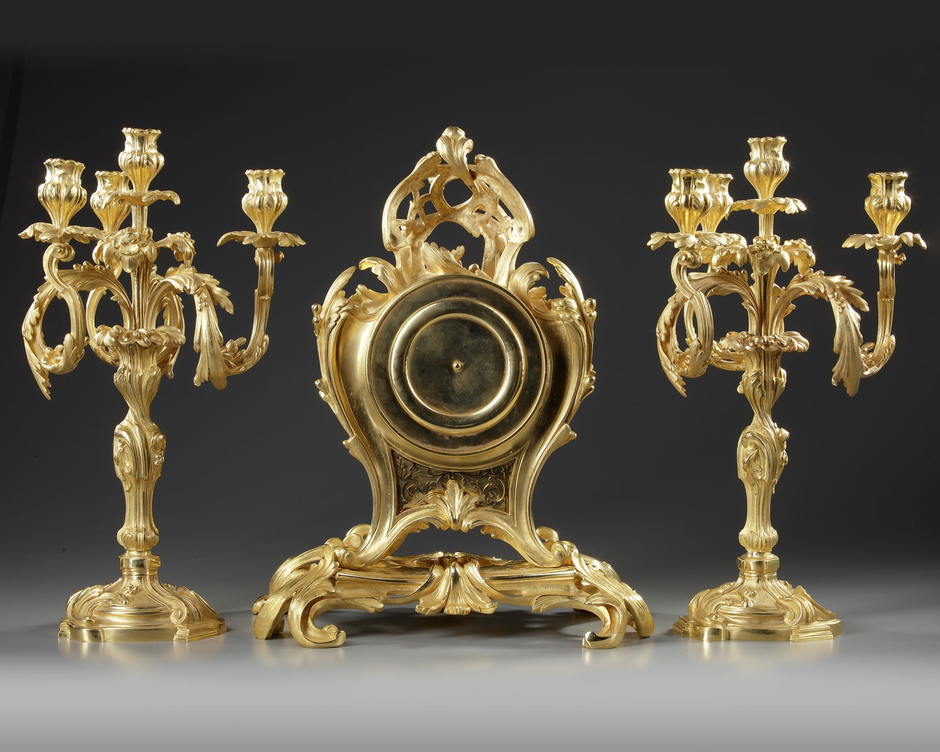 A FRENCH ORMOLU CLOCK SET, 19TH CENTURY - Image 3 of 3