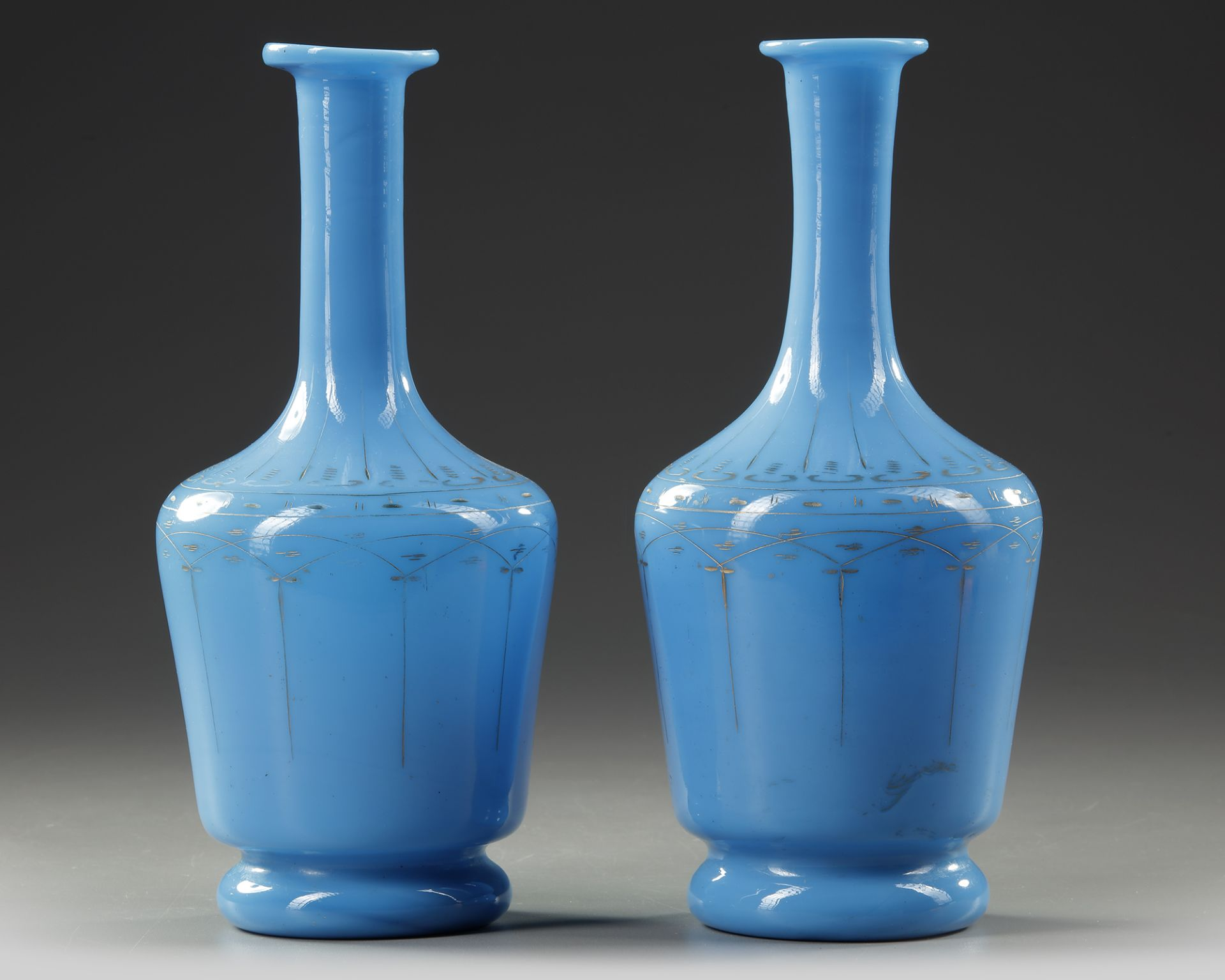 A PAIR OF OPALINE CARAFES, LATE 19TH CENTURY