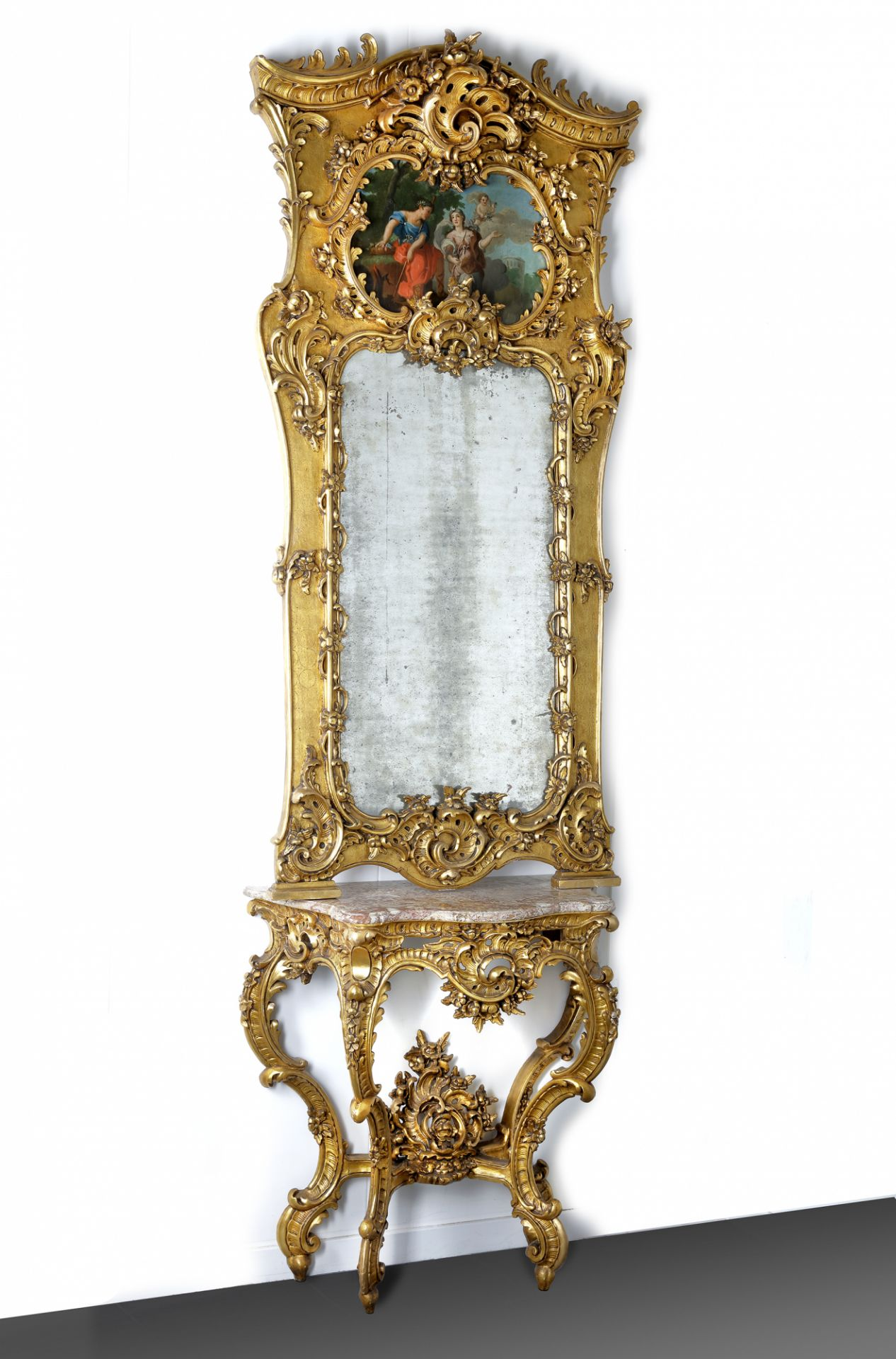 A FRENCH TRUMEAU MIRROR AND CONSOLE, LATE 19TH CENTURY