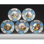 A SET OF SEVRES PLATES, LATE 19TH CENTURY