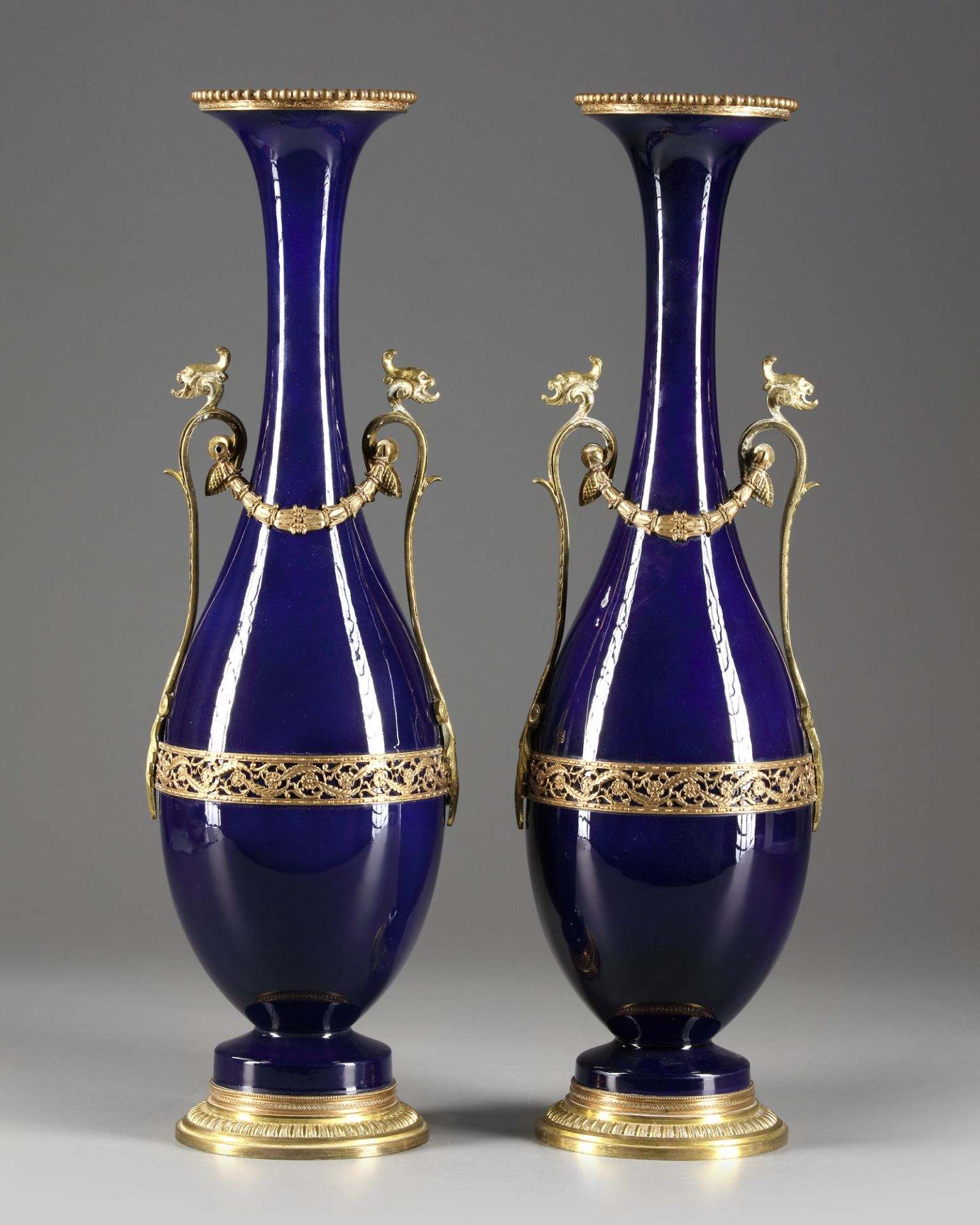 A PAIR OF FRENCH BLUE PORCELAIN VASES, CIRCA 1900 - Image 3 of 3