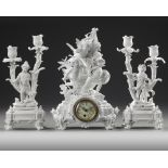 A FRENCH SEVRES BISCUIT CLOCK SET, 19TH CENTURY