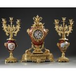 A FRENCH CLOCK SET, LATE 19TH CENTURY