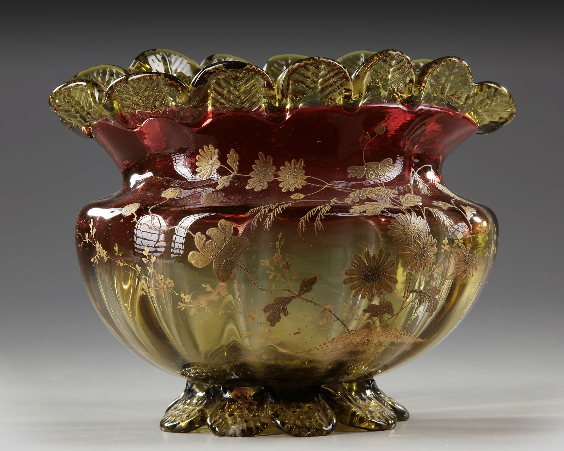 A BLOWN GLASS BOWL, 'LE GRAS', LATE 19TH CENTURY