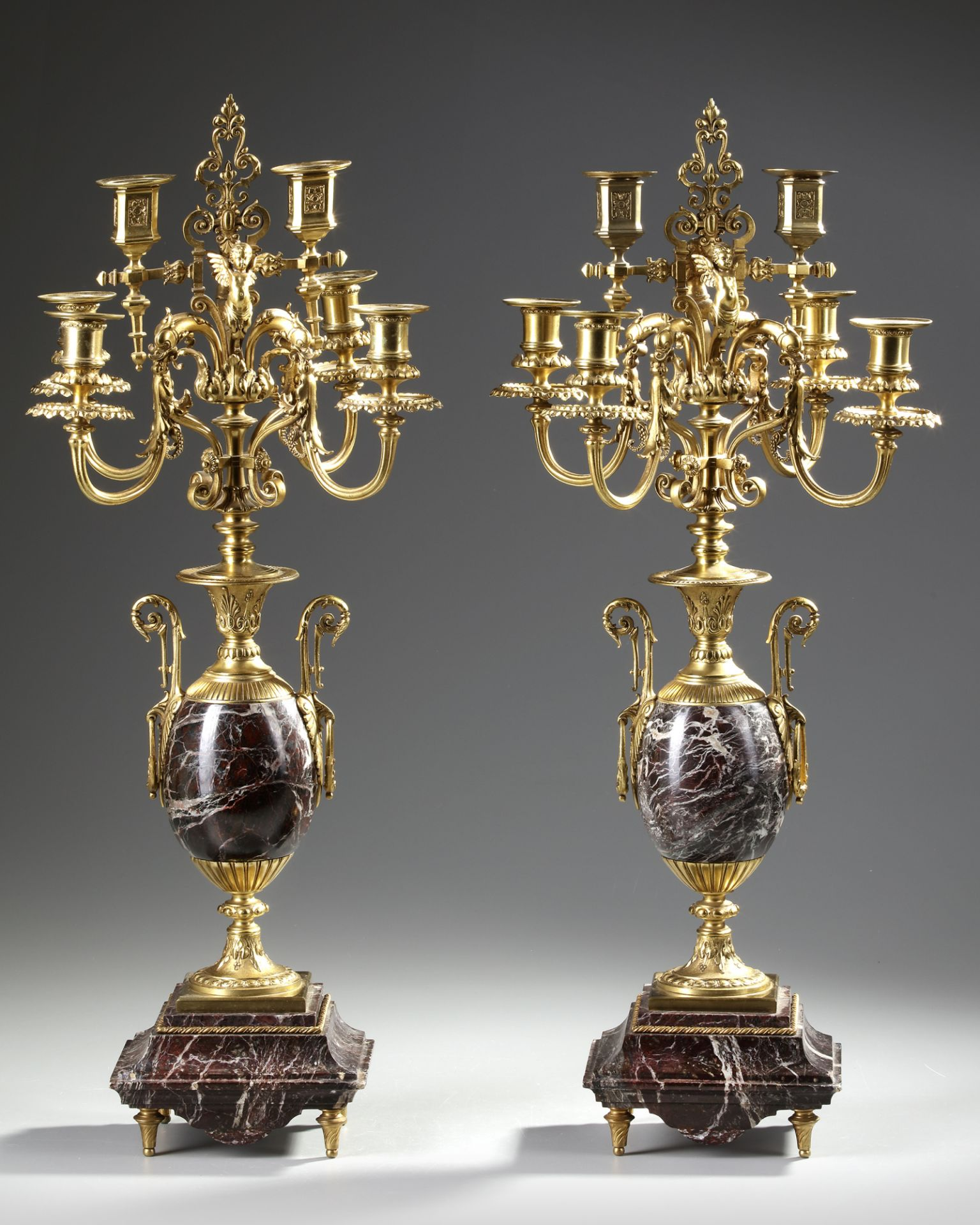 A PAIR OF FRENCH GILT CANDELABRAS.LATE 19TH CENTURY - Image 3 of 3