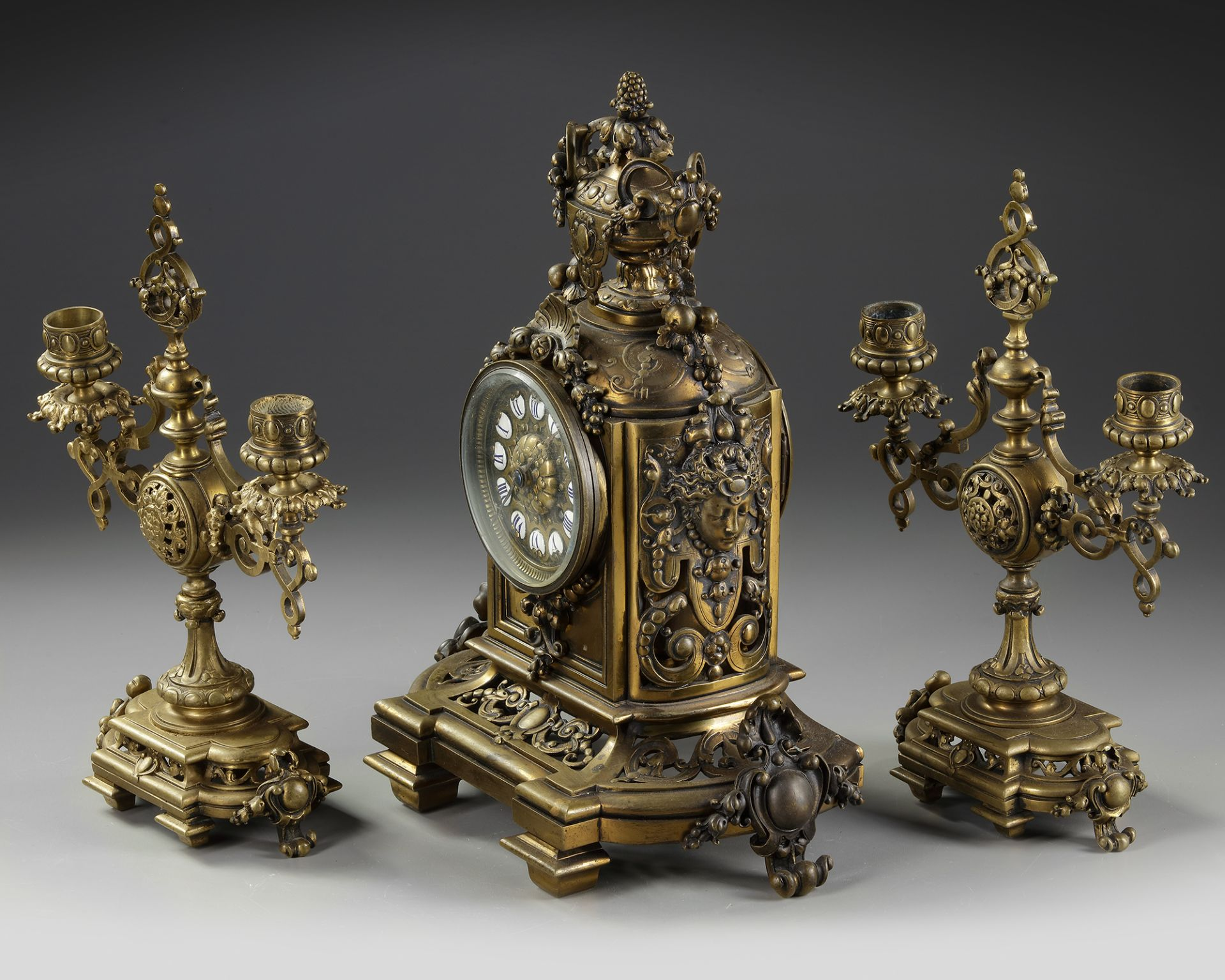 A NEO-RENAISSANCE STYLE BRONZE CLOCK AND CANDLELABRA SET, LATE 19TH CENTURY - Image 2 of 3