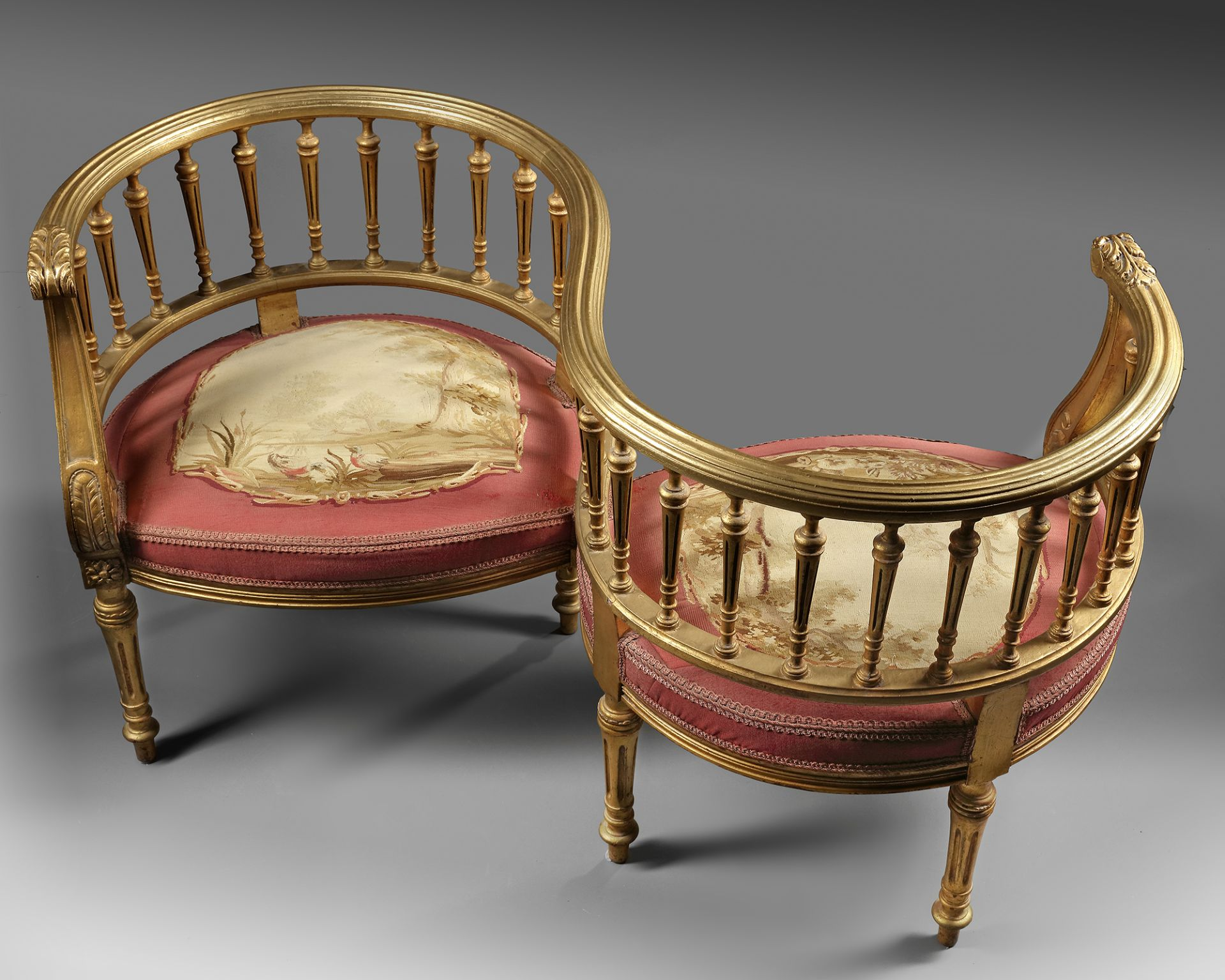A PAIR OF CONNECTED 'HORSESHOE' CHAIRS, LATE 19TH CENTURY - Image 3 of 3