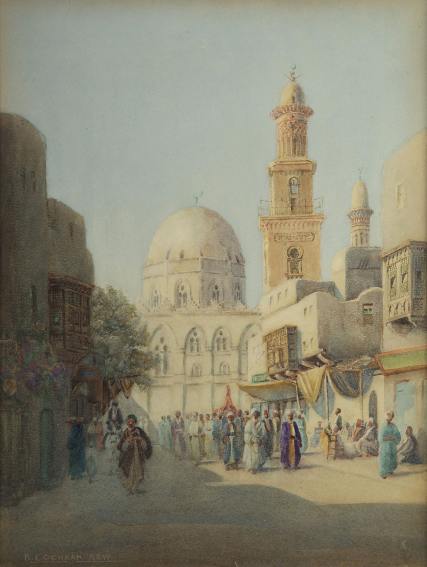 A PAINTING DEPICTING VARIOUS FIGURES NEAR THE MOSQUE IN CAIRO, 19TH-20TH CENTURY - Image 2 of 3