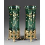 A PAIR OF GREEN GLASS VASES, LATE 19TH CENTURY