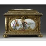A LARGE JEWELRY BOX, SEVRES PORCELAIN, 19TH CENTURY