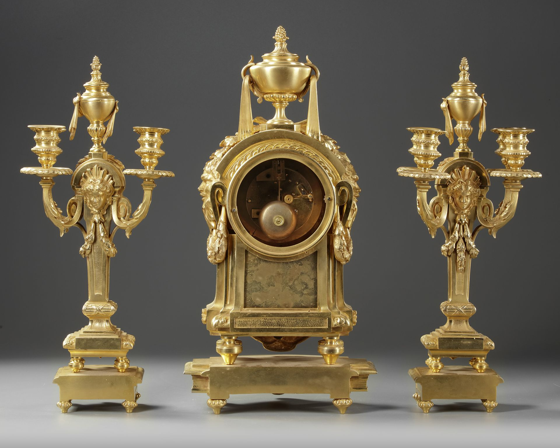 A FRENCH ORMOLU CLOCK SET, NAPOLEON III STYLE - Image 3 of 4