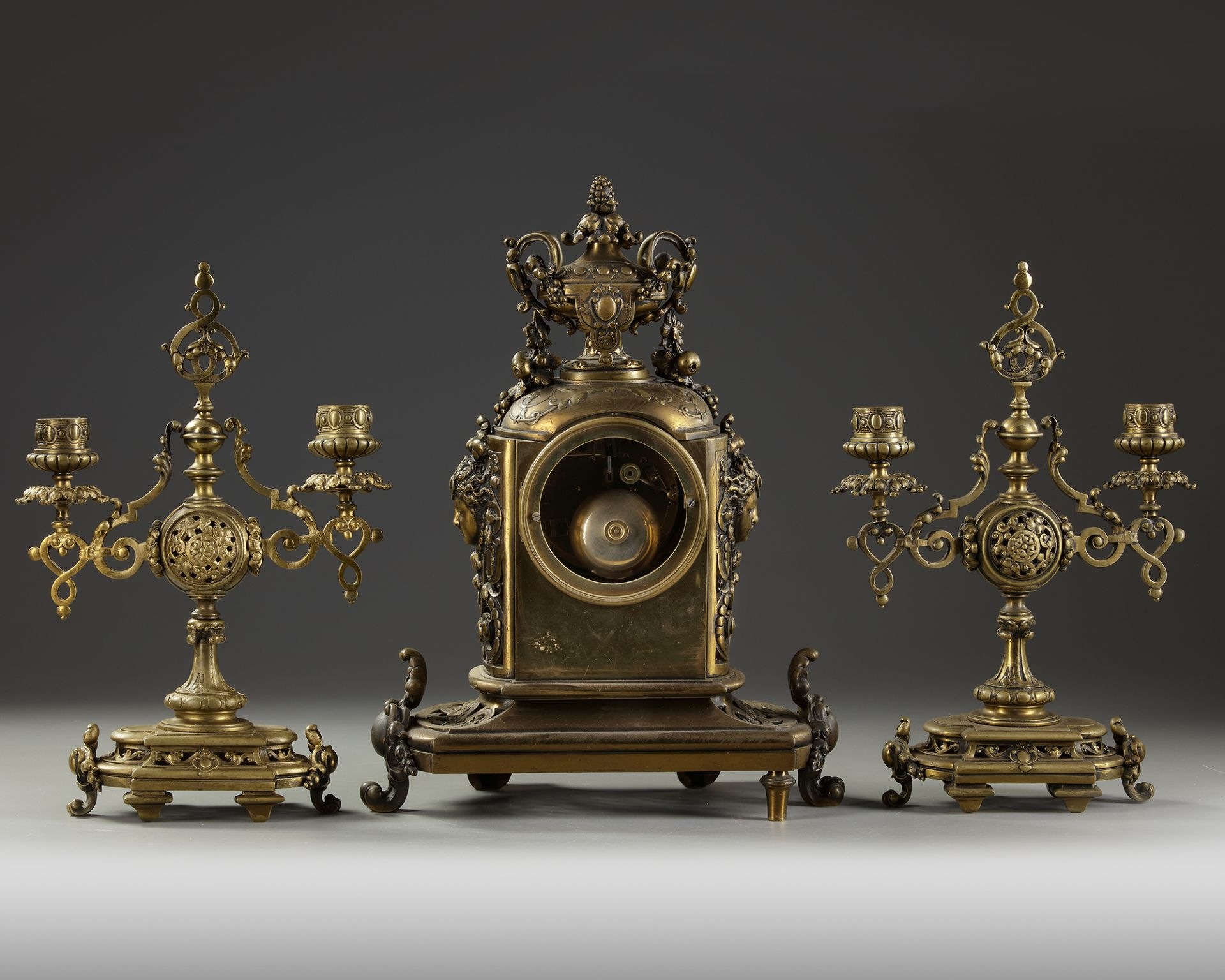 A NEO-RENAISSANCE STYLE BRONZE CLOCK AND CANDLELABRA SET, LATE 19TH CENTURY - Image 3 of 3