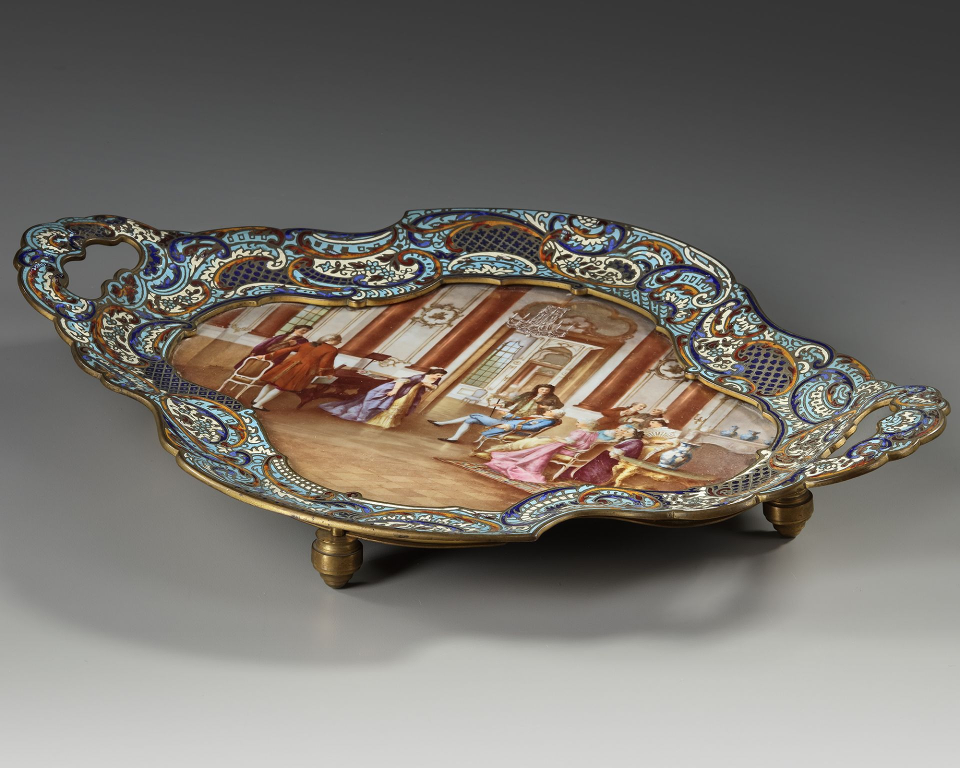 A FRENCH GILT ENAMEL CHAMPLEVÉ DRESSER STAND, 19TH CENTURY - Image 2 of 3