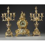 A FRENCH CHAMPLEVÉ ENAMEL CLOCK SET, 19TH CENTURY