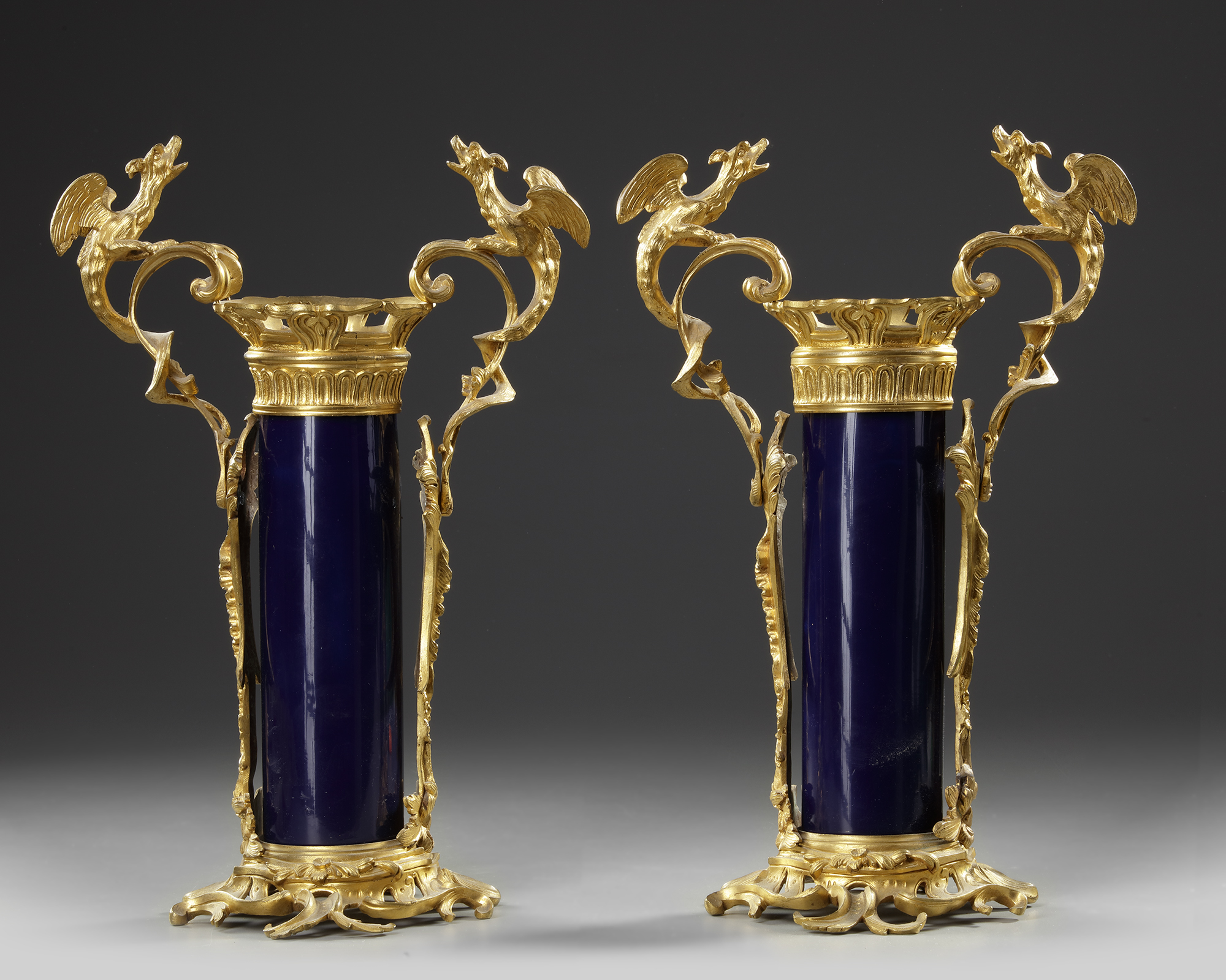 A PAIR OF FRENCH BLUE PORCELAIN VASES, 19TH CENTURY
