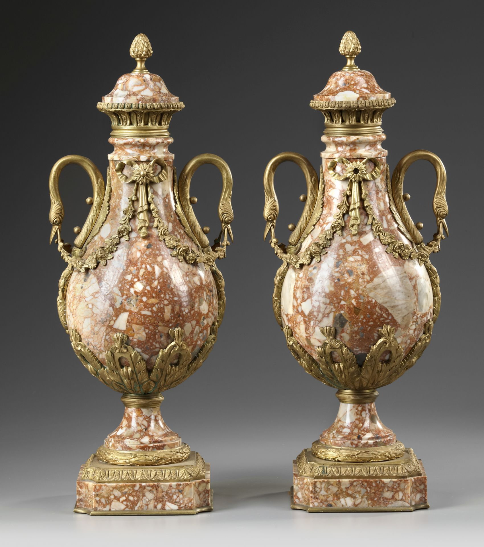A PAIR OF MARBLE CASSOLETTES, FRANCE 19TH CENTURY