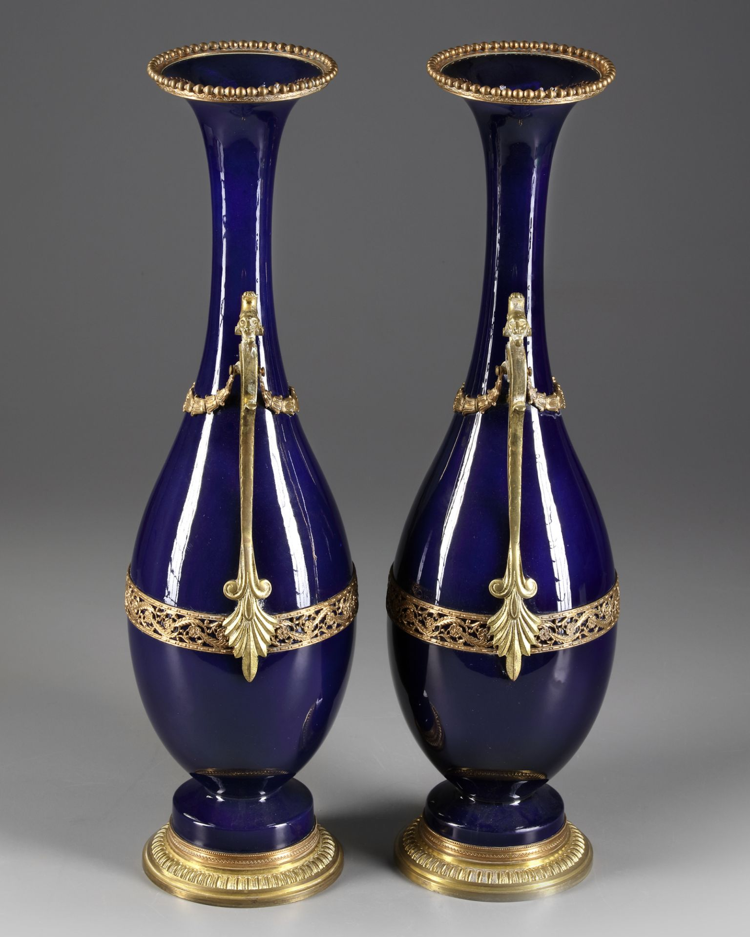 A PAIR OF FRENCH BLUE PORCELAIN VASES, CIRCA 1900 - Image 2 of 3