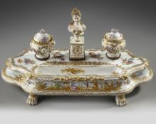 A GERMAN INKWELL SET, LATE 19TH CENTURY