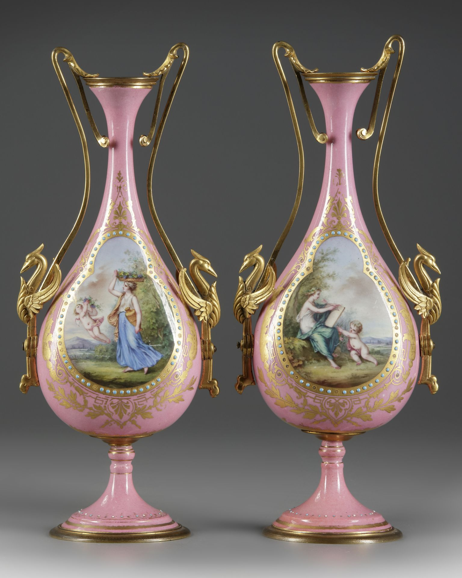 A PAIR OF FRENCH PINK SEVRES VASES, LATE 19TH CENTURY