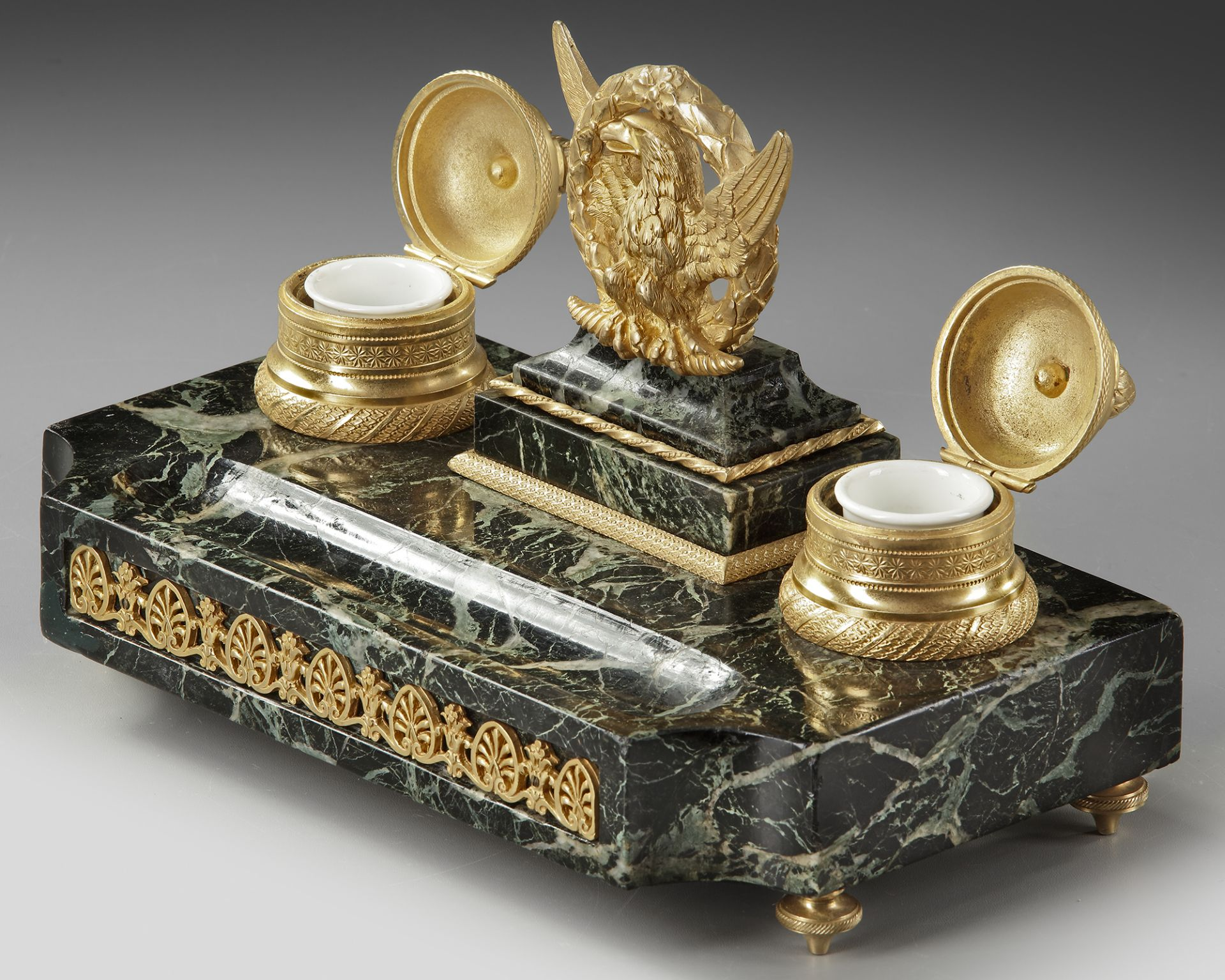 A FRENCH 'EMPIRE STYLE' INKWELL SET, LATE 19TH CENTURY - Image 3 of 3