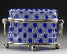 A BLUE CRYSTAL BOX, 20TH CENTURY