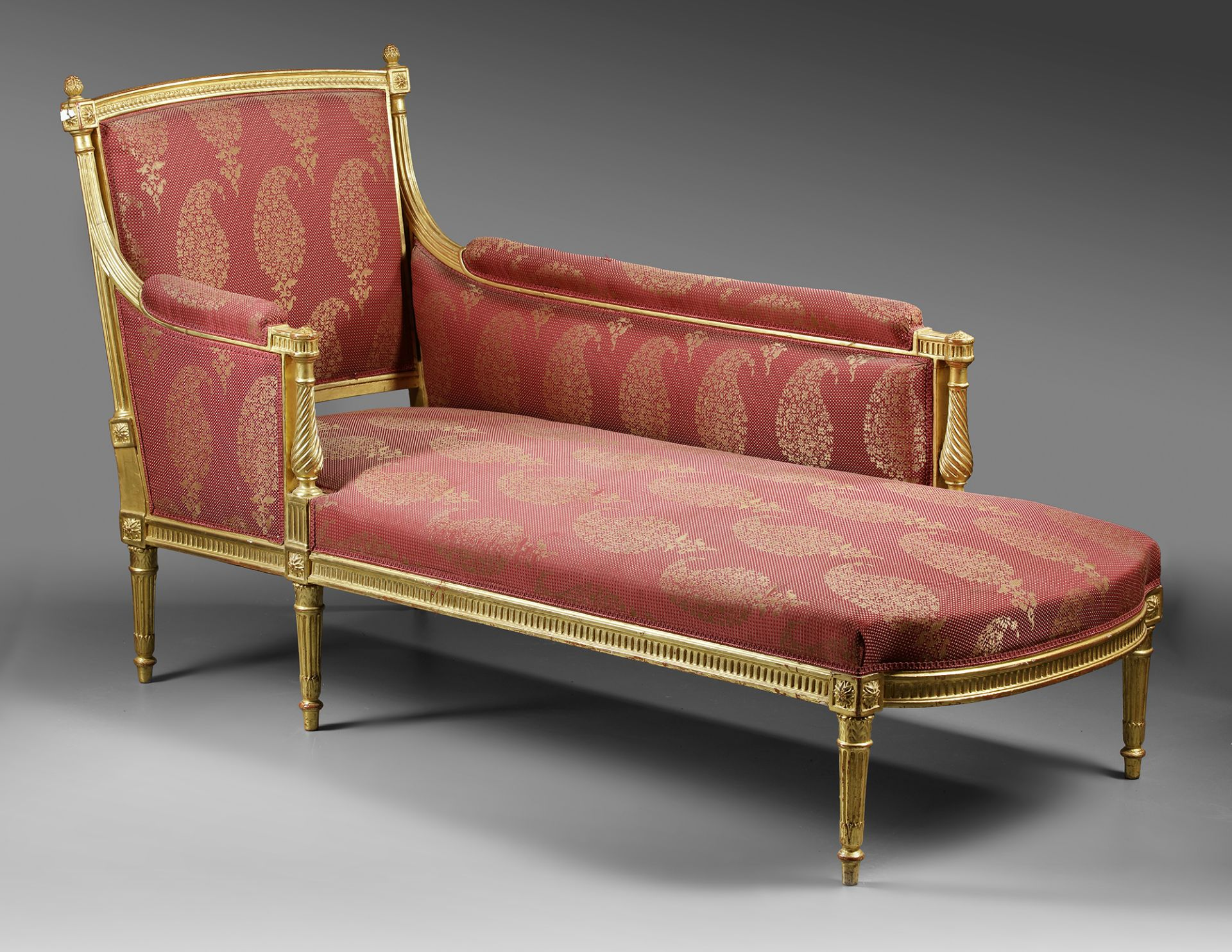 A FRENCH LOUNGE CHAIR, LOUIS XVI STYLE, LATE 19TH CENTURY