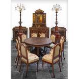 A FRENCH MAHOGANY DINING ROOM SET, 19TH CENTURY