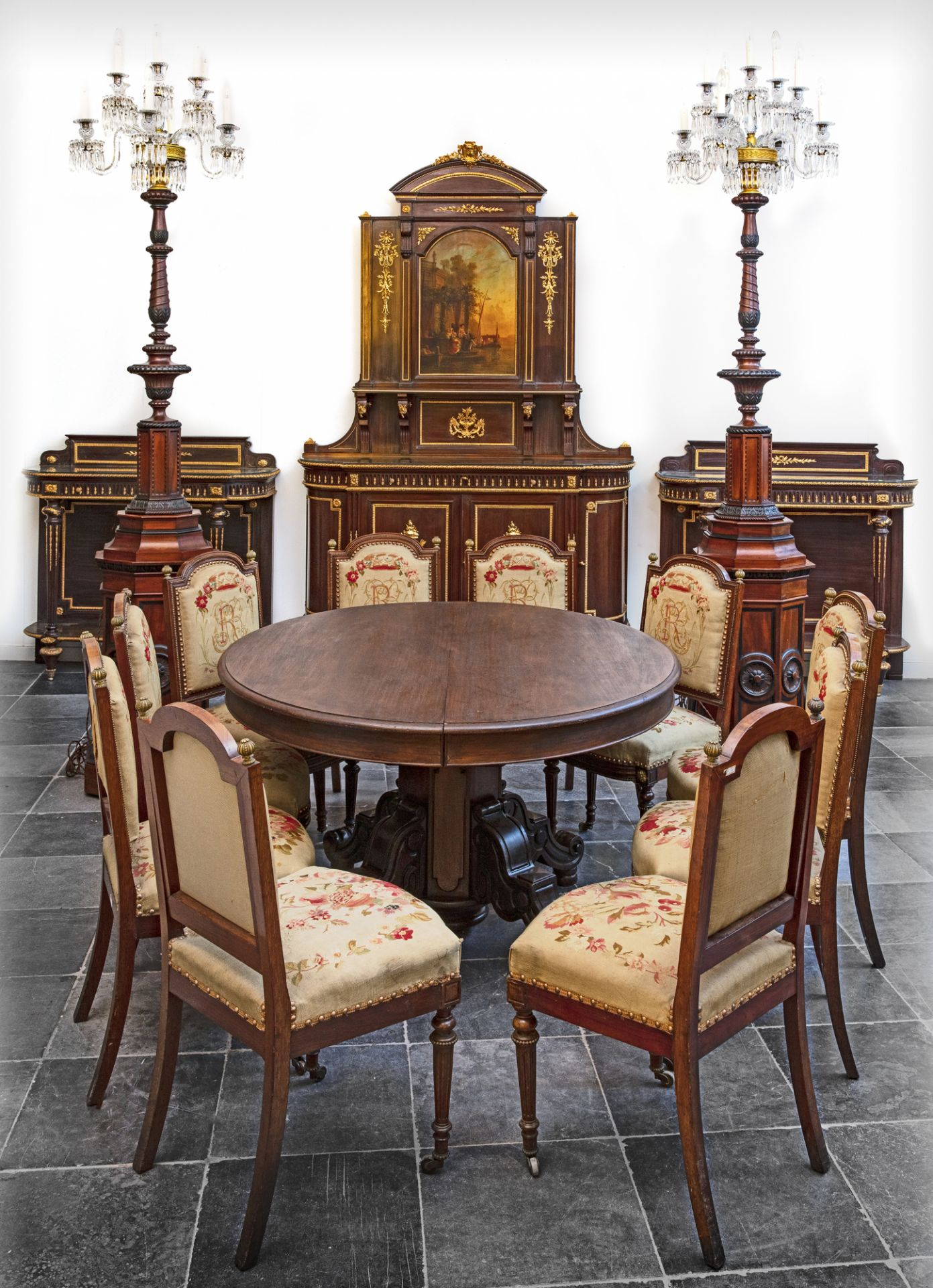 A FRENCH MAHOGANY DINING ROOM SET, 19TH CENTURY