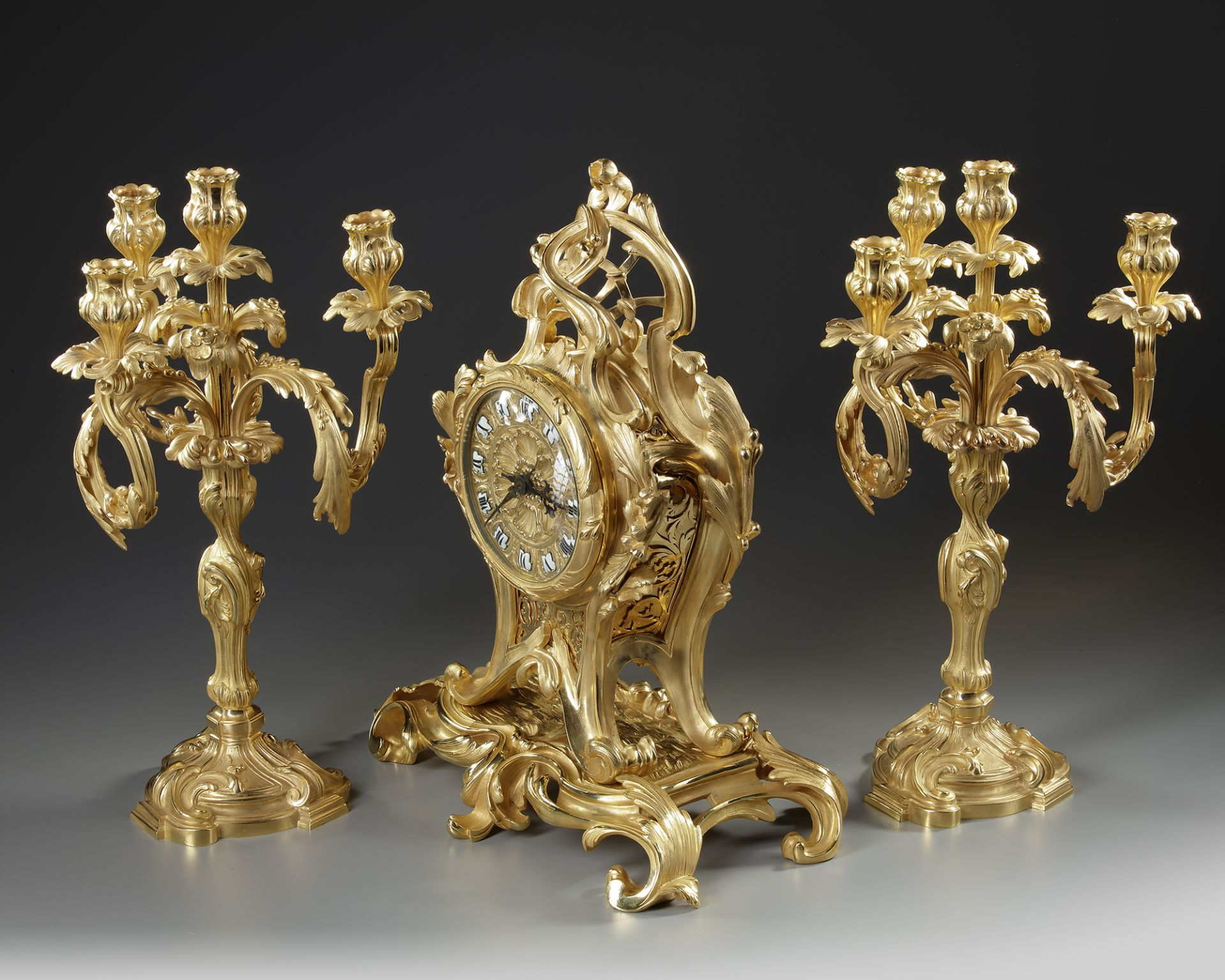 A FRENCH ORMOLU CLOCK SET, 19TH CENTURY - Image 2 of 3