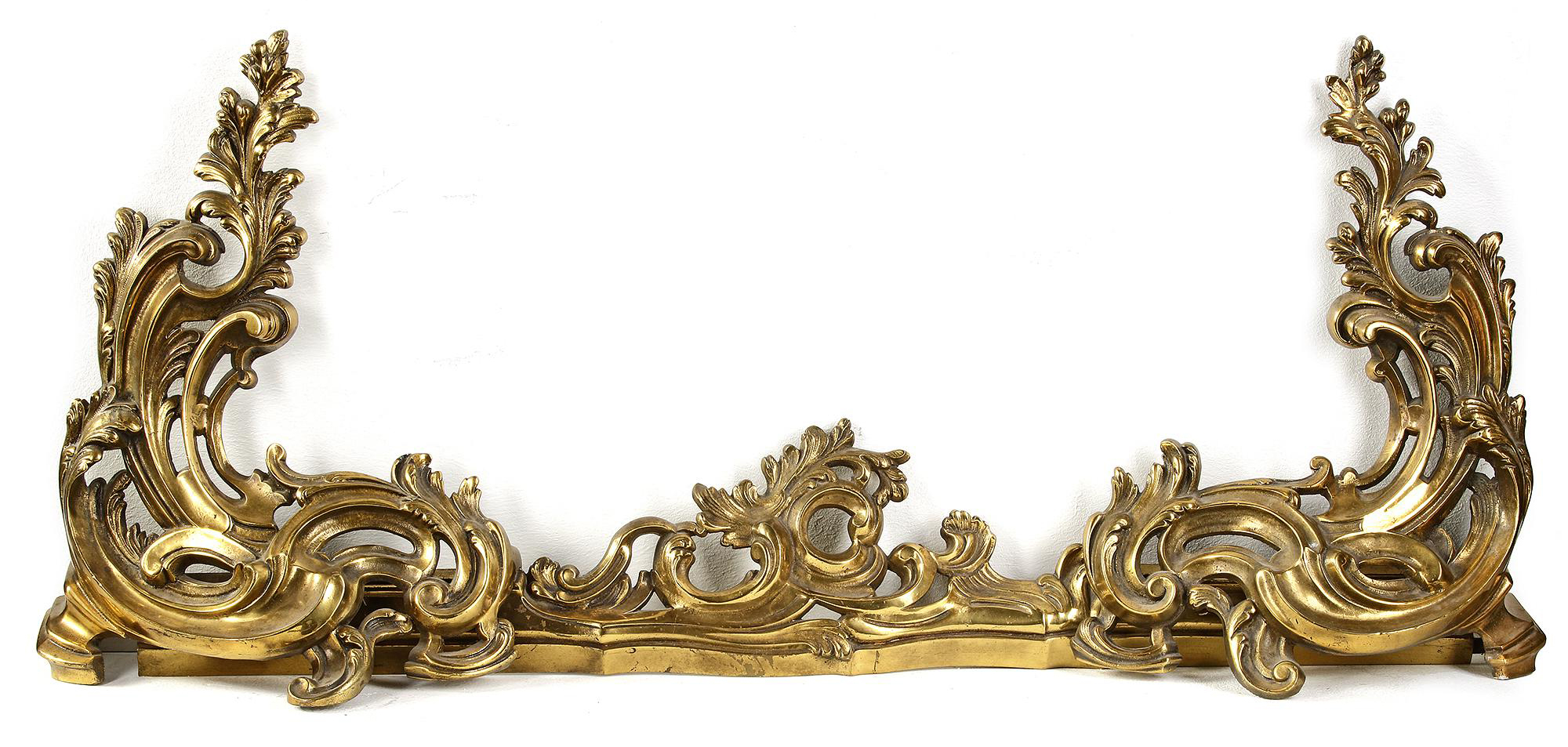 A FRENCH CHISELED AND GILT BRONZE ANDIRON, 19TH CENTURY