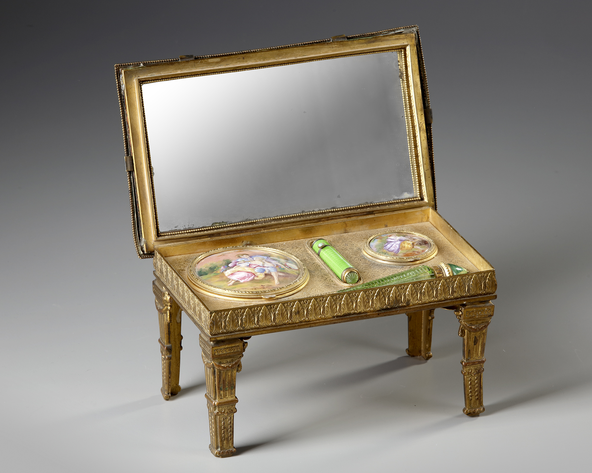 AN AUSTRIAN ENAMEL MINIATURE TABLE WITH PERFUME VIAL, LATE 19TH CENTURY - Image 2 of 5